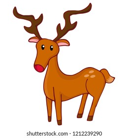 Christmas reindeer isolated. Vector doodle illustration.