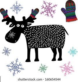 Christmas reindeer with knitted gloves and snowflakes. Hand drawn illustration.