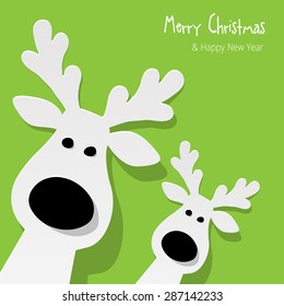Christmas Reindeer on a green background
