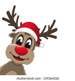 christmas reindeer with red nose