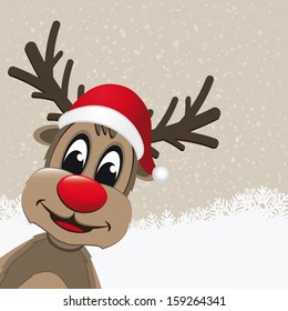 christmas reindeer with red nose snowy background