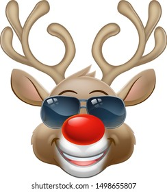 Christmas reindeer red nosed deer cartoon character wearing cool shades or sunglasses