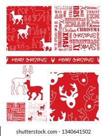 Christmas Reindeer repeat seamless patterns