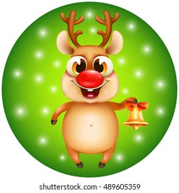 christmas reindeer rudolph with golden bell on a green background