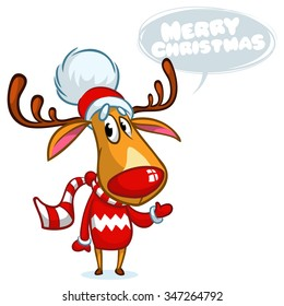 Christmas reindeer Rudolph in Santa hat with speech bubble. Vector illustration on white background