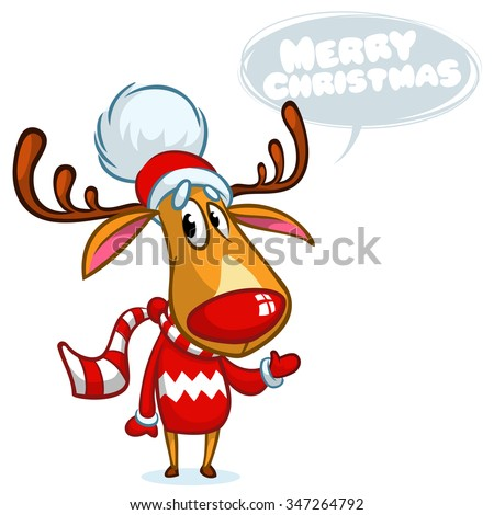 848b93646e4a8 Christmas reindeer Rudolph in Santa hat with speech bubble. Vector  illustration on white background