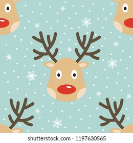 Christmas reindeer seamless pattern. Deers and snow, vector illustration