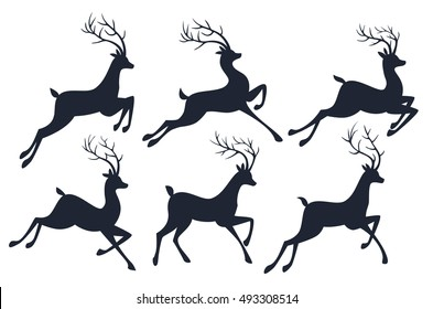 Christmas reindeer silhouettes isolated on white background. Vector set