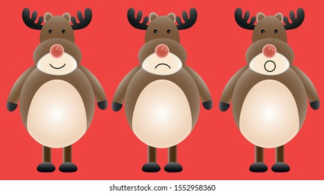 Christmas reindeer vector pattern of Rudolph the red nosed reindeer. Happy sad and surprised.