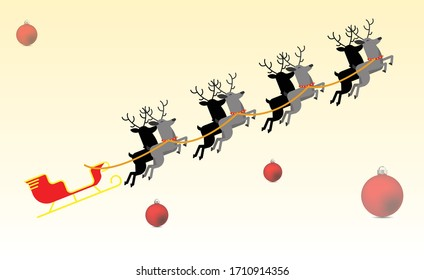 christmas Reindeer vector with red balls