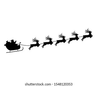 Christmas reindeers are carrying Santa Claus in a sleigh with gifts.