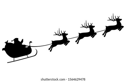 Christmas reindeers are carrying Santa Claus in a sleigh with gifts. silhouette on a white