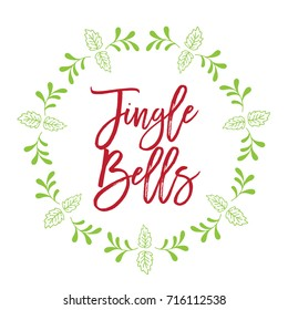 Christmas related word art script text design vector with circle floral frame for Jingle Bells
