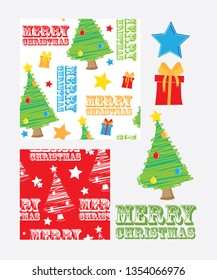 Christmas repeat vector patterns and icons