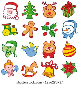 Christmas repeatable pattern showing Santa, tree, reindeer, gift, train, cookie man, holly and snowman. Elf bird, teddy bear, bauble, angel, rocking horse, bell and poinsettia complete the design