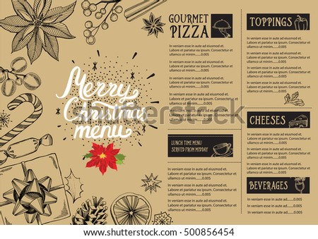 christmas restaurant brochure menu template vector holiday background and design banner happy new