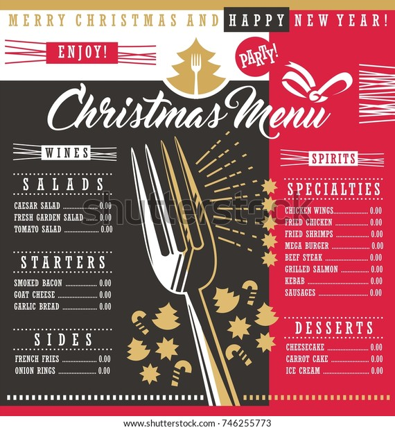Christmas restaurant menu template with Christmas design elements. Holiday dinner menu design concept for restaurant or cafe bar. Food and drinks theme for Christmas holiday.