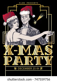 Christmas retro dance party poster template. Couple dancing. Vintage vector lineart engraving style. Art Deco Epoch 1920's 1930's and 1940's Retro X-mas Hollywood style