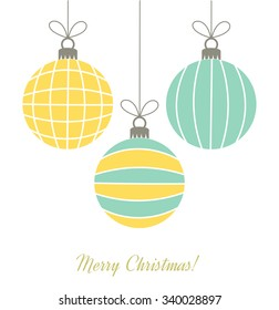 Christmas retro hanging bauble ornaments. Vector illustration