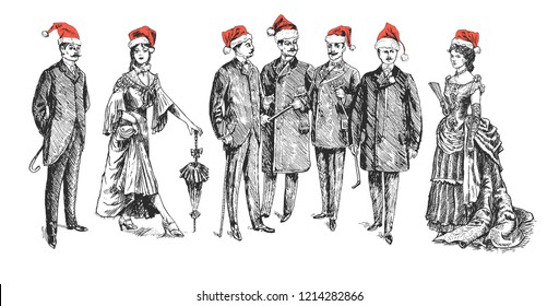 Christmas retro party. ladies and gentlemen. Man and woman figure collection. Group of people in red Santa's hat. Vintage Hand Drawn Set. Retro Illustration in ancient engraving style