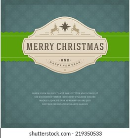 Christmas retro typography and ornament decoration. Merry Christmas holidays wish greeting card design and vintage background. Happy new year message. Vector illustration Eps 10.