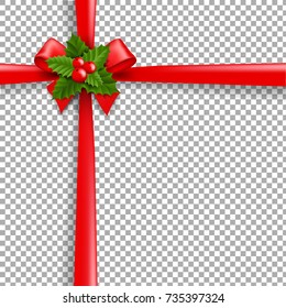 Christmas Ribbon Bow With Holly Berry And Transparent Background Gradient Mesh Vector Illustration