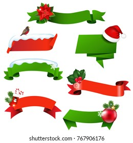 Christmas Ribbon Set With Gradient Mesh, Vector Illustration