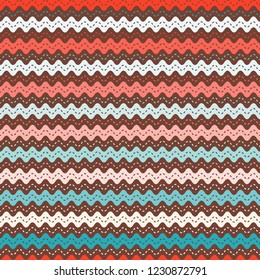 Christmas ric rac pattern. Seamless vector waves in pink and aqua.