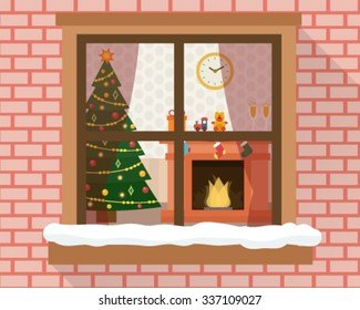Christmas room with furniture, christmas tree and fireplace through the window. Flat style vector illustration.