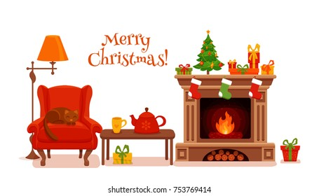 Christmas room interior in colorful cartoon flat style. Fir tree, gifts, decoration, arm chair, fireplace, table with teapot cup. Cozy noel xmas night celebration vector illustration.