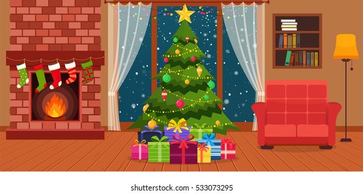 Christmas room interior with fireplace, armchair with lamps, she