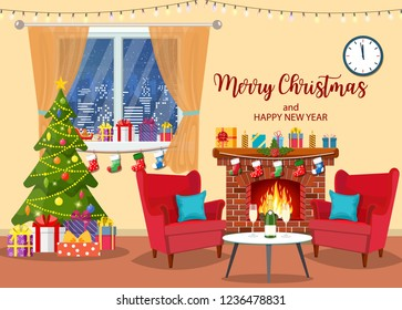 Christmas room interior. Christmas tree, fireplace, window, table and chairs. Merry christmas holiday. New year and xmas celebration Vector illustration in a flat style