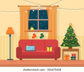 Christmas room interior. Christmas tree, gift and decoration. Flat style vector illustration.