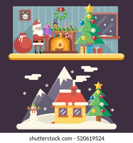Christmas Room New Year House Landscape Santa Claus Accessories Icons Greeting Card Elements Flat Template Vector Illustration