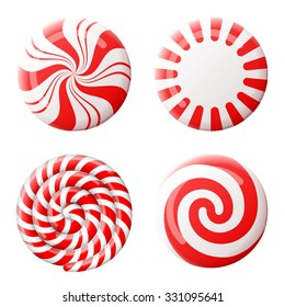 Christmas round candy set. Striped peppermint candies without wrapper. Vector illustration