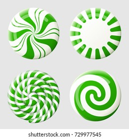 Christmas round candy set. Striped peppermint candies without wrapper. Best vector design element for christmas, new years day, dessert, winter holiday, sweet-stuff, new years eve, food, etc