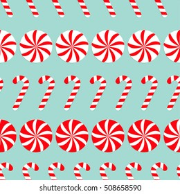 Christmas Round white and red sweet set. Candy Cane Seamless Pattern Decoration. Wrapping paper, textile template. Blue background. Flat design. Vector illustration.