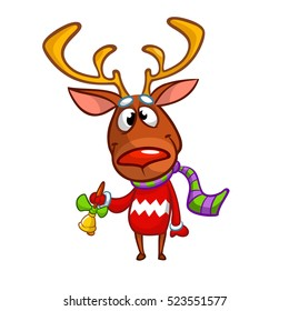 Christmas Rudolph reindeer in Santa hat ringing a bell. Vector illustration isolated