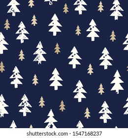 Christmas Rustic Festive Hand-Stamped White And Gold Foil Fir Trees Vector Seamless Pattern. Farmhouse Woodland Style Winter Holidays Background. Organic Country Print