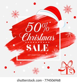 Christmas sale 50% off sign over holiday abstract brush painted background vector illustration. Perfect design for shop labels, banners or gift cards.