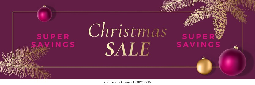 Christmas Sale Abstract Vector Frame Greeting Banner or Holiday Card Background. Banner Size. Classy Colors with Gold Gradient and Typography. Realistic Balls and Sketch Fir-needles Strobile. Isolated