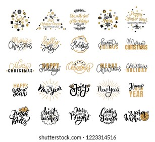Christmas sale adverts, Xmas celebration, hot winter prices, Valentines day, merry and bright winter, holly jolly lettering text, greeting cards design on white background