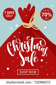 Christmas sale background with bag of holiday gifts and hand drawn lettering.