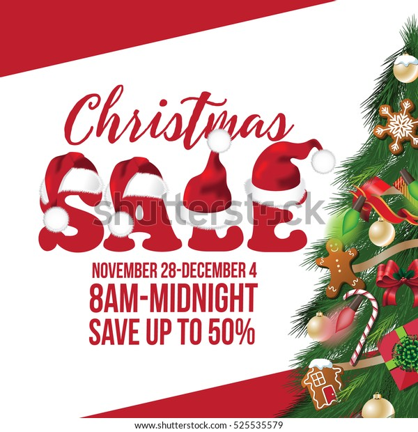 Christmas Sale Background Design Decorated Christmas