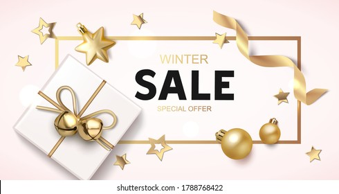 Christmas sale background with golden balls, star, ribbon and gift box. New year holiday decoration. Vector illustration