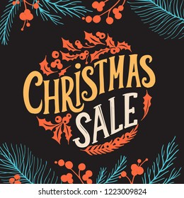 Christmas sale background with holiday decorations on a chalkboard vector illustration banner for xmas special promotion. Design poster with colorful lettering and hand-drawn graphic elements.