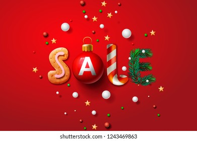 Christmas sale background, promotional poster for Christmas sale, vector illustration.