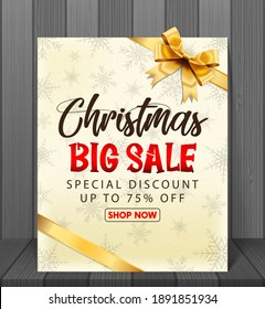 Christmas sale background with red realistic ribbon banner and gift boxes.Vector