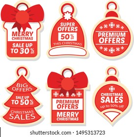 christmas sale badge and tag design collection design vector illustration