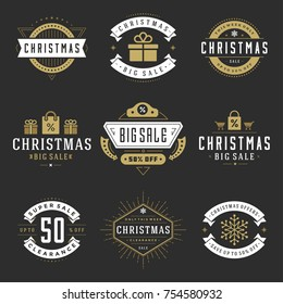 Christmas sale badges, labels and tags design vector vintage set for banners, promotional brochures, holidays discount Posters, shopping advertising flyers.